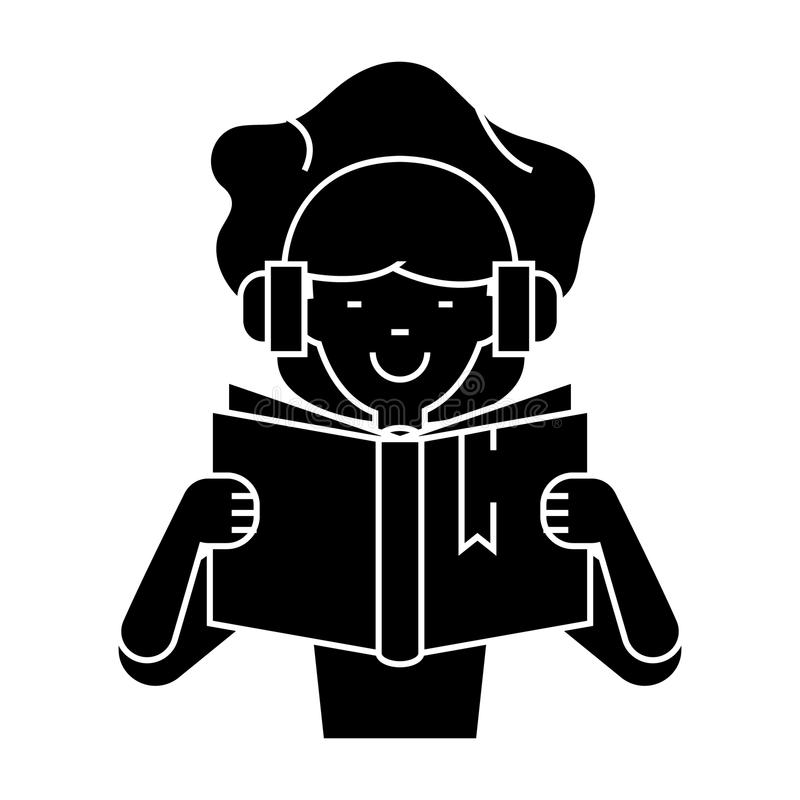 Girl reading book in earphones icon, vector illustration, sign on isolated background stock illustration