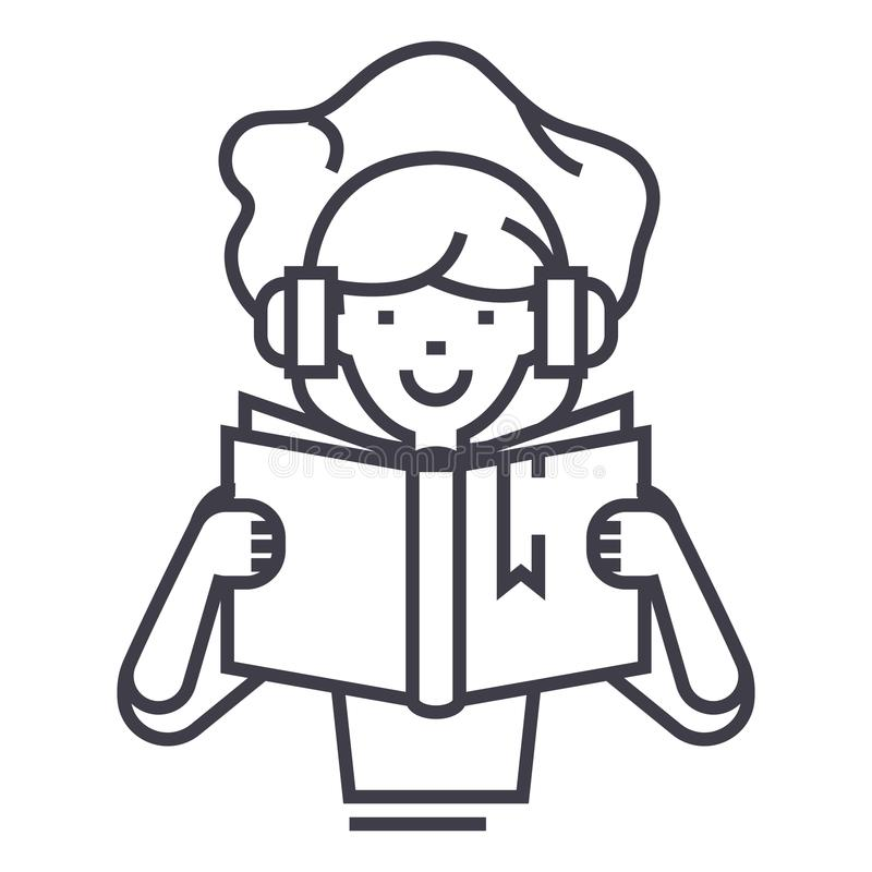 Girl reading book in earphones vector line icon, sign, illustration on background, editable strokes royalty free illustration