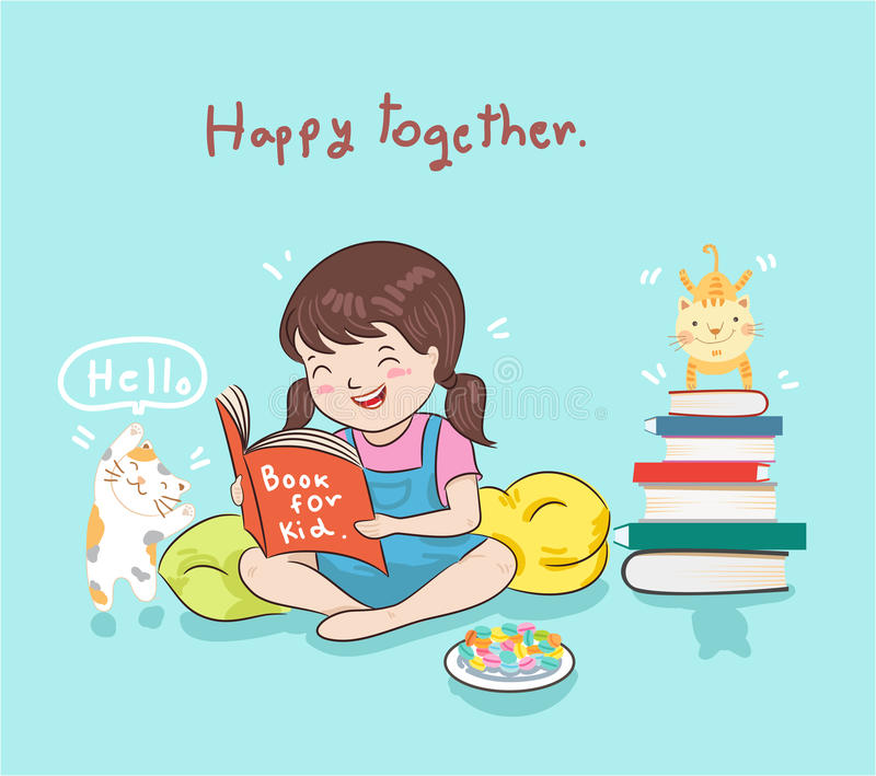 Girl reading book stock illustration