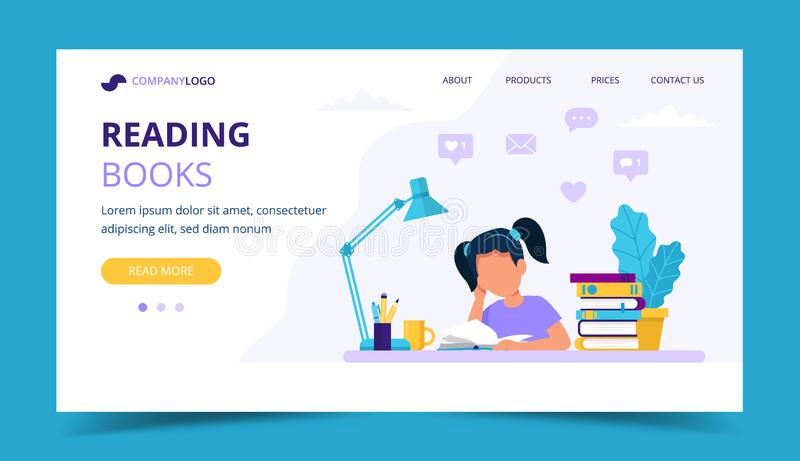 Girl reading a book landing page. Concept illustration for children education and studying. Vector illustration in flat. Vector illustration in flat style stock illustration