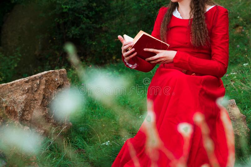 Girl reading a book in the park 3 royalty free stock image
