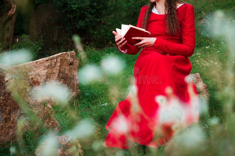 Girl reading a book in the park 4 stock photography