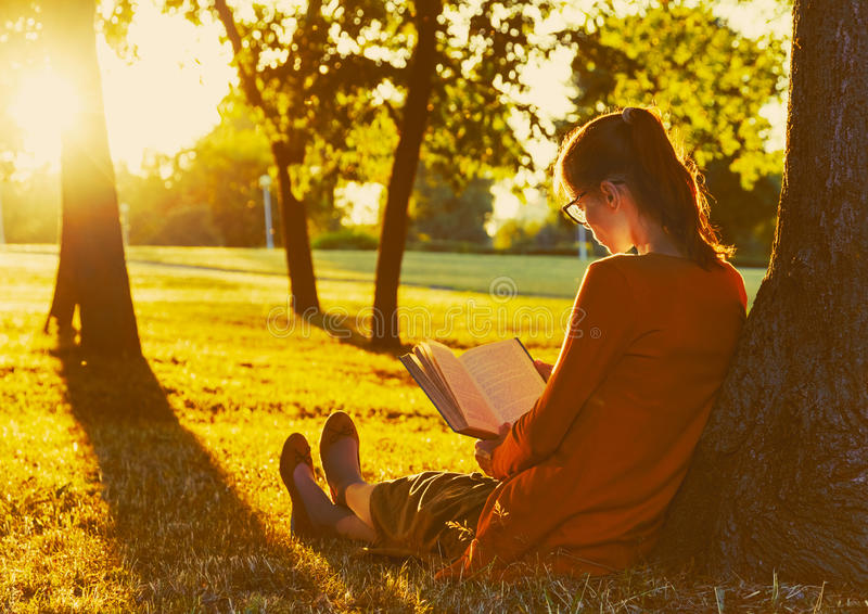Girl reading book at park. In summer sunset light stock photography