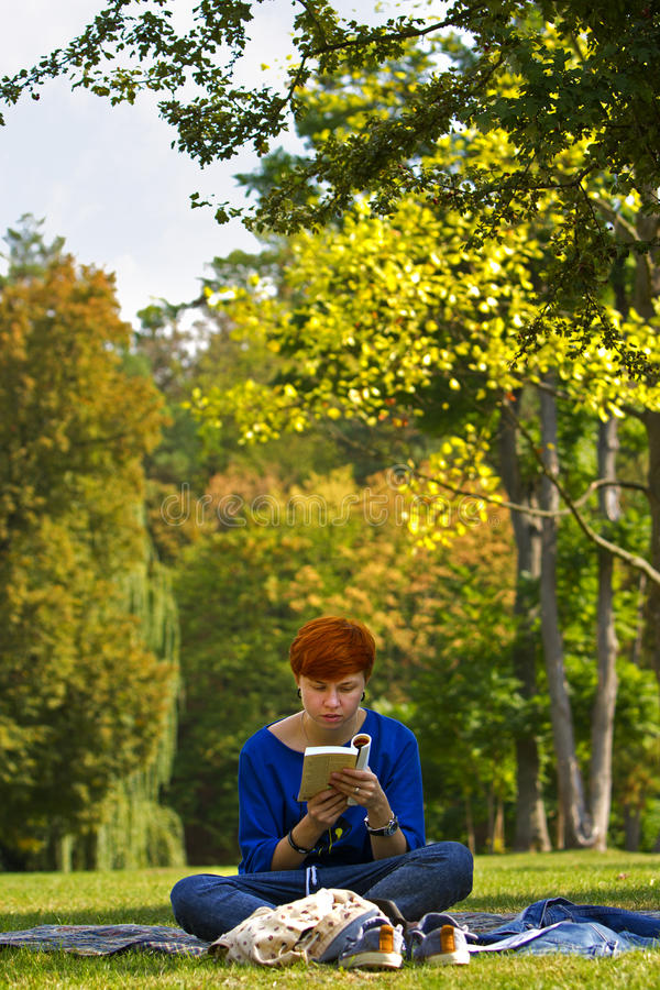 Girl reading a book. royalty free stock images