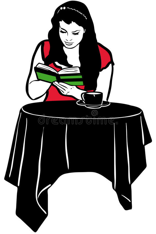 Girl reading a book at the table drinking coffee royalty free illustration