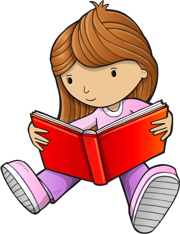girl reading book vector stock vector illustration of illustration rh dreamstime com little girl reading clipart girl reading book clipart