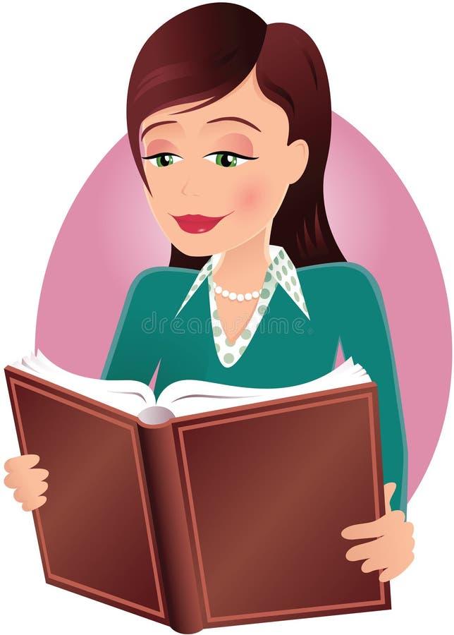 Girl reading book stock illustration