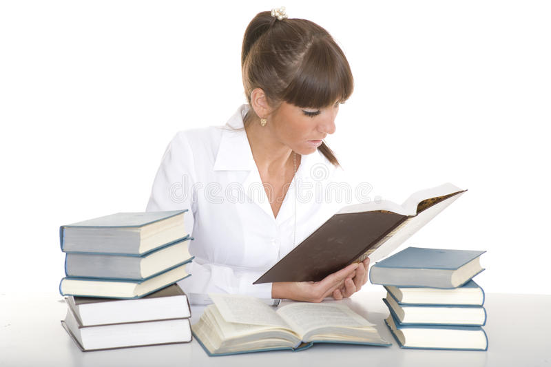 Download Girl reading books stock photo. Image of lifestyle, ambitious - 14734580