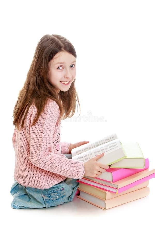 Girl reading books stock photo. Image of black, learning ...