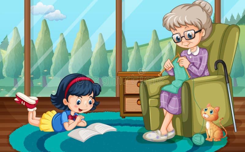Girl reading and grandma knitting vector illustration