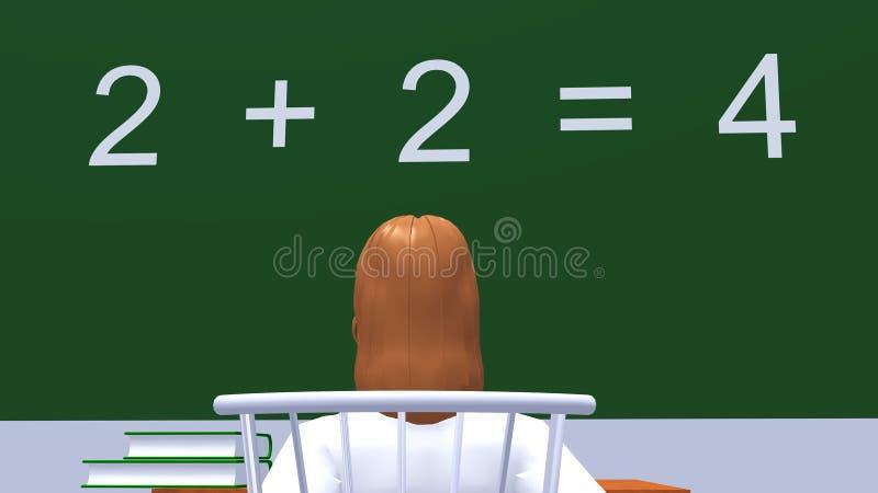 Girl reading lesson on blackboard royalty free stock image