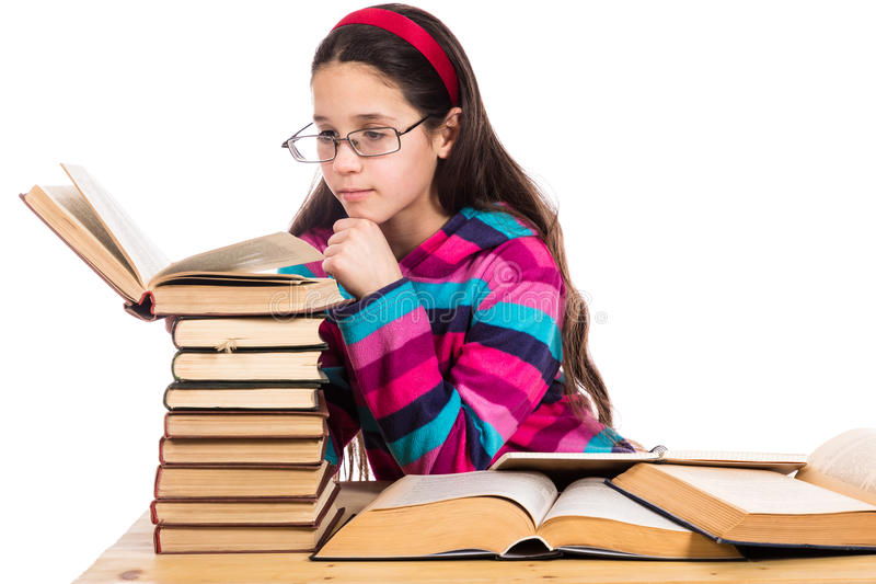Girl reading the old book stock image