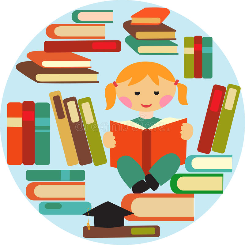 Girl Reading On Pile Of Books Royalty Free Stock Photos