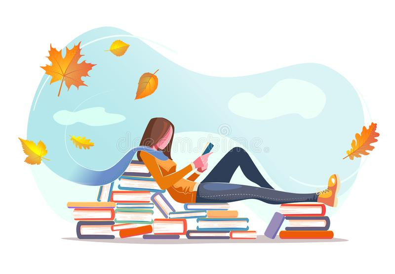 Girl reading, sitting on stacks of books in fall leaves background. Concept design. Beautiful autumn nature with Flat young woman. Modern card for web design royalty free illustration