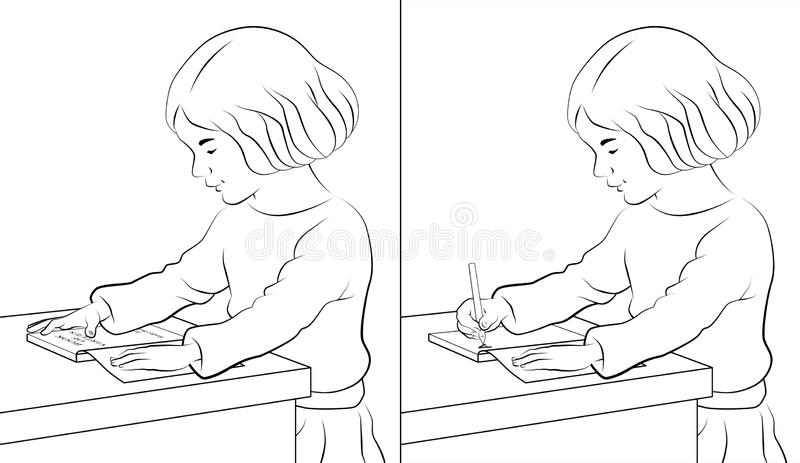 Girl Reading and Writing. Girl sitting reading a book on table and writing on notebook royalty free illustration