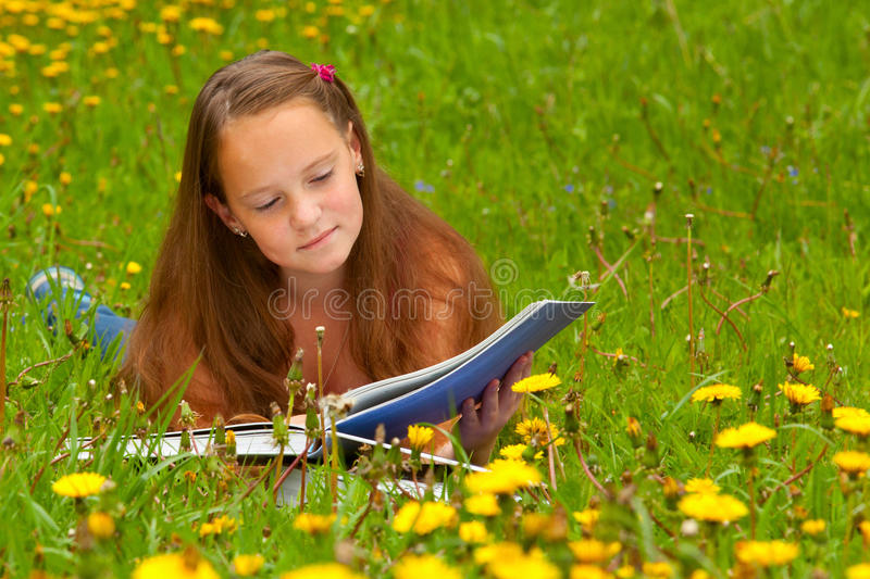Download A Girl Reads A Book In The Meadow Stock Image - Image: 26431591