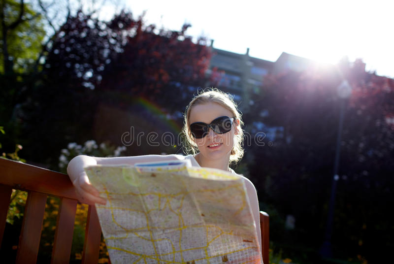 Download Girl reads the map outside stock image. Image of person - 26465215