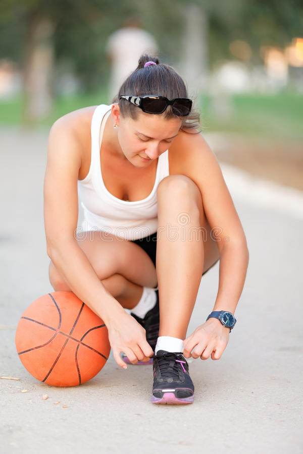 Download Girl Ready To Play Basketball Stock Photo - Image: 26240114