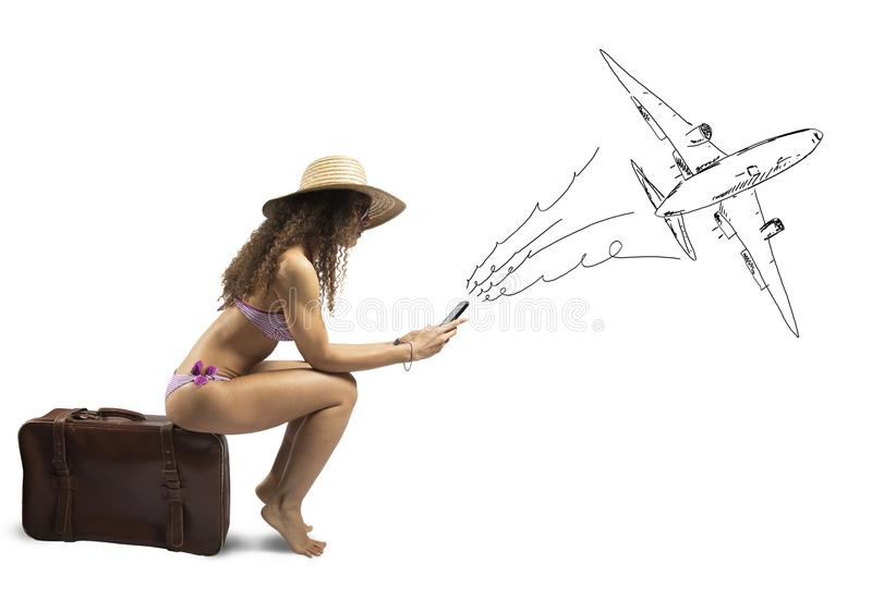 Girl ready to travel stock image
