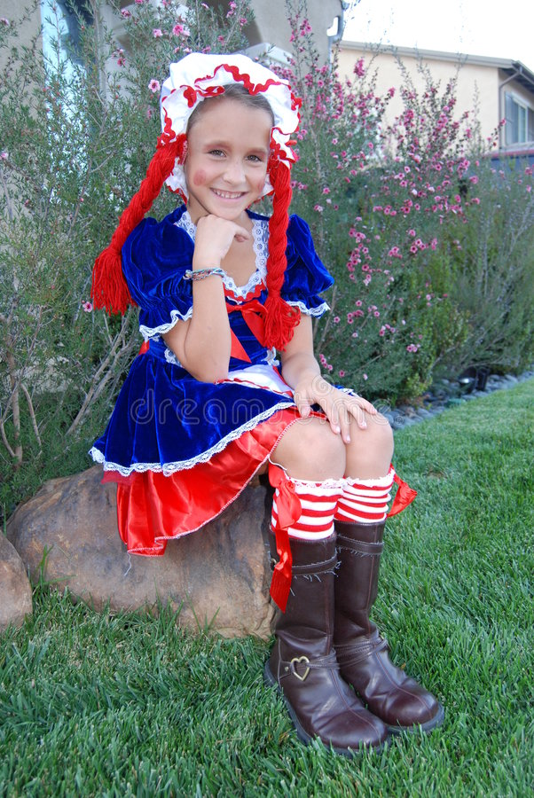 Girl ready for trick or treating stock photos