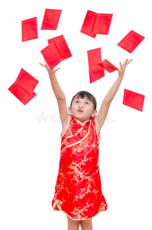 Girl receive red packet money from above. Young Asian girl receive red packet money from above royalty free stock images