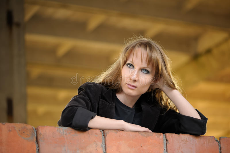 Download Girl recline on wall stock image. Image of indoor, outside - 15273855