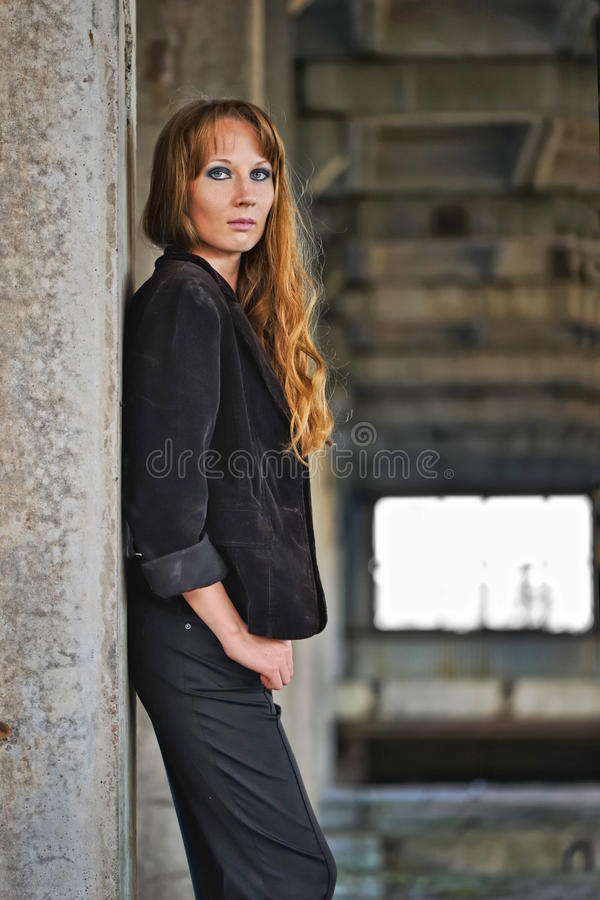 Download Girl recline on wall stock image. Image of lonely, model - 15421279