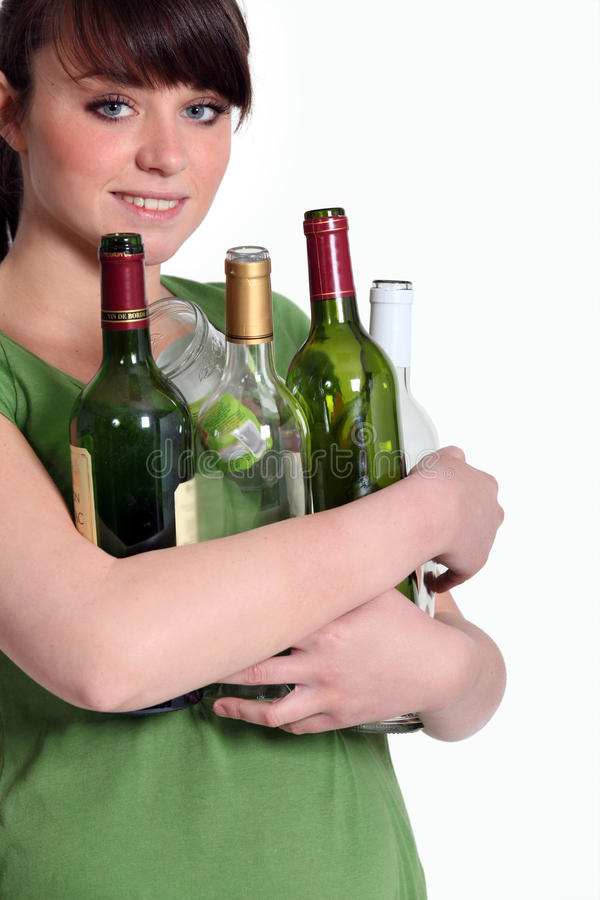Download Girl Recycling Glass Bottle Royalty Free Stock Photography - Image: 29064137
