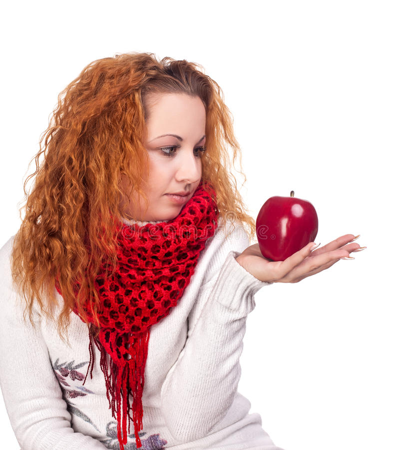 Download Girl with red apple stock photo. Image of curly, beauty - 28068400