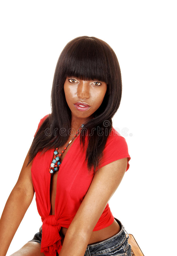 Download Girl in red blouse. stock photo. Image of person, black - 26272330