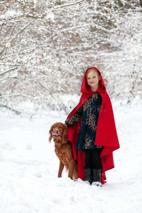 Girl in a red coat with a dog royalty free stock photography