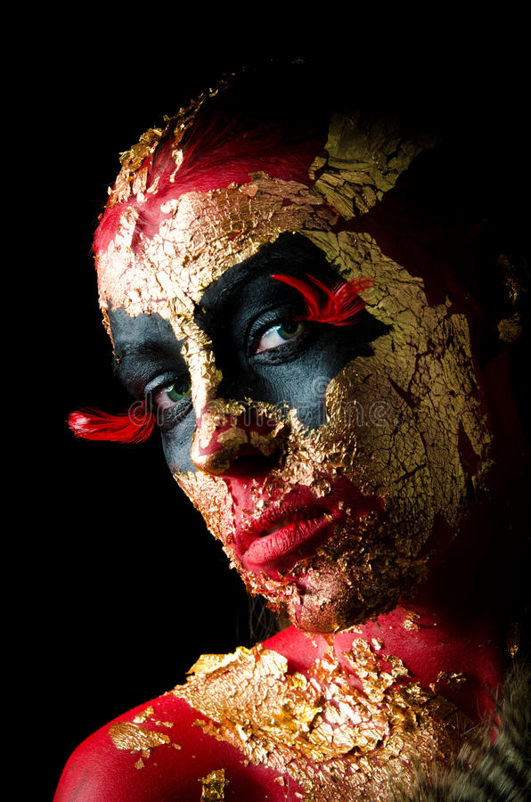 Download GIrl In Red Demon Makeup Royalty Free Stock Photography - Image: 24314327