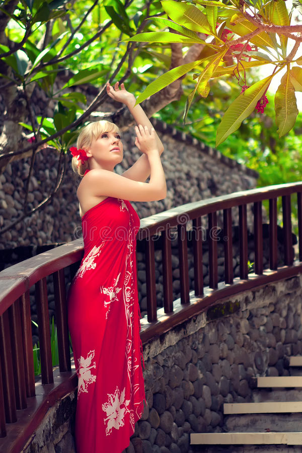 Download Girl in red dress stock image. Image of palm, stairs - 21166907
