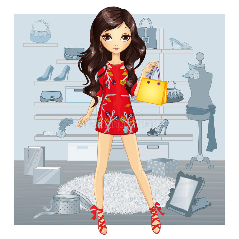 Girl In Red Dress Does Shopping vector illustration