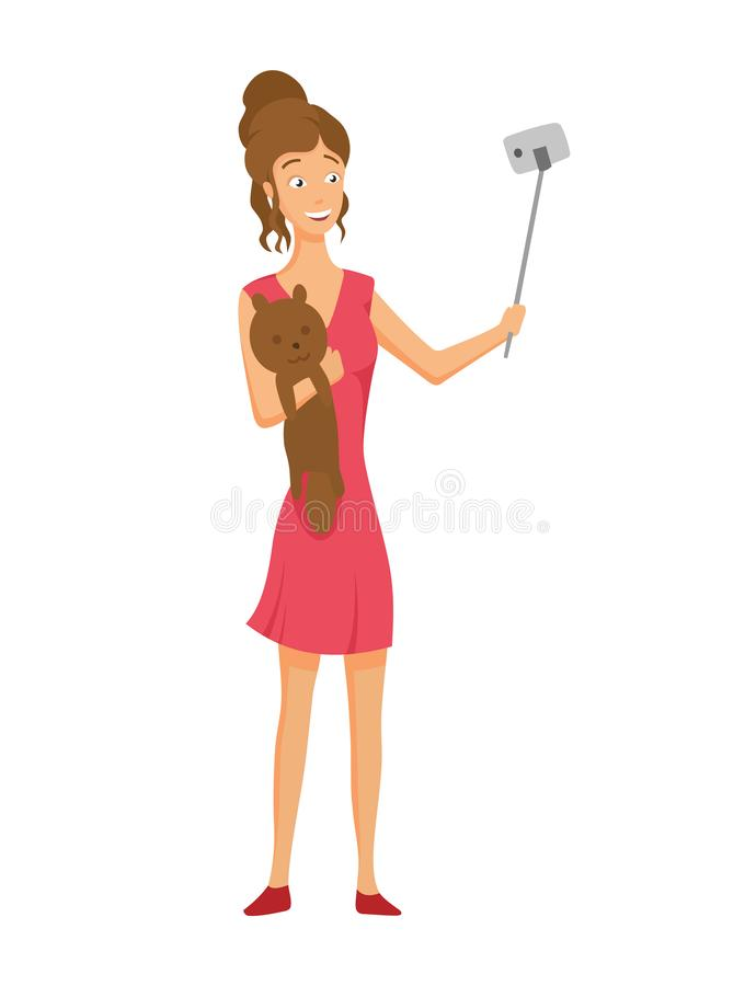Girl in a red dress with a soft toy makes a selfie. royalty free illustration