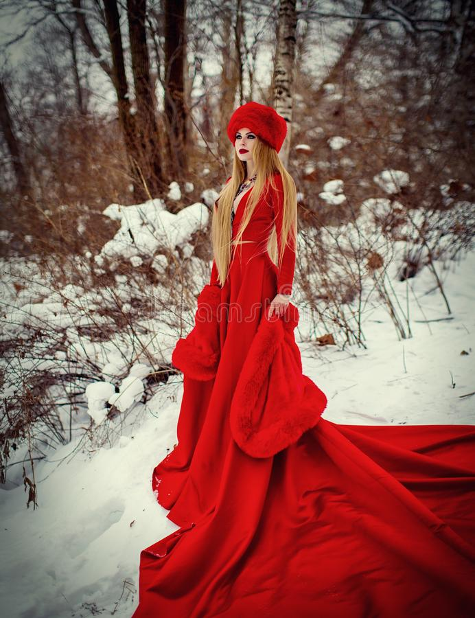 Girl in red dress in winter forest. Girl in a red coat and hat in the winter forest. A young girl with long hair and red flowers in her hair royalty free stock image