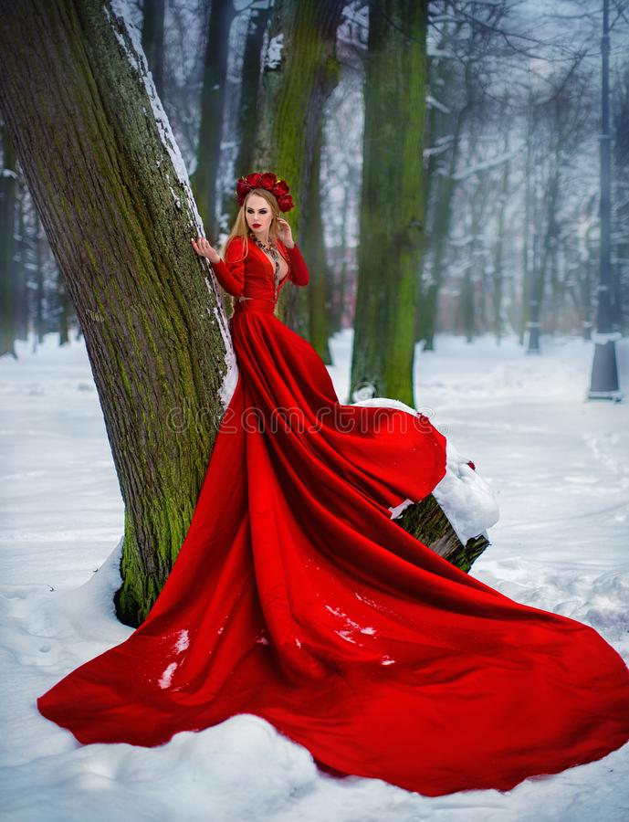 Girl in red dress in winter forest. A young girl with long hair and red flowers in her hair royalty free stock images