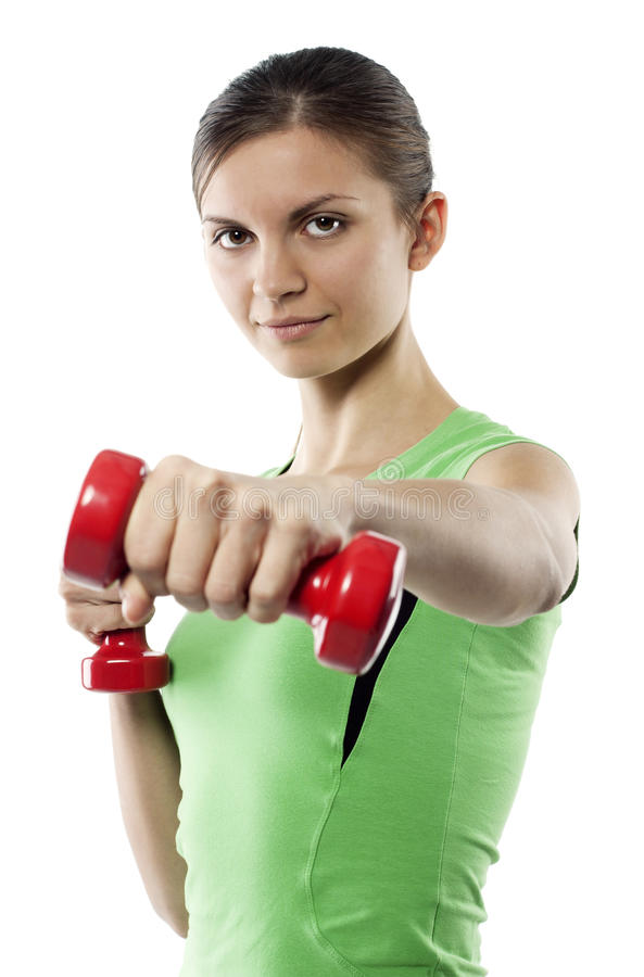 Girl With Red Dumbbells In Hands Stock Photos