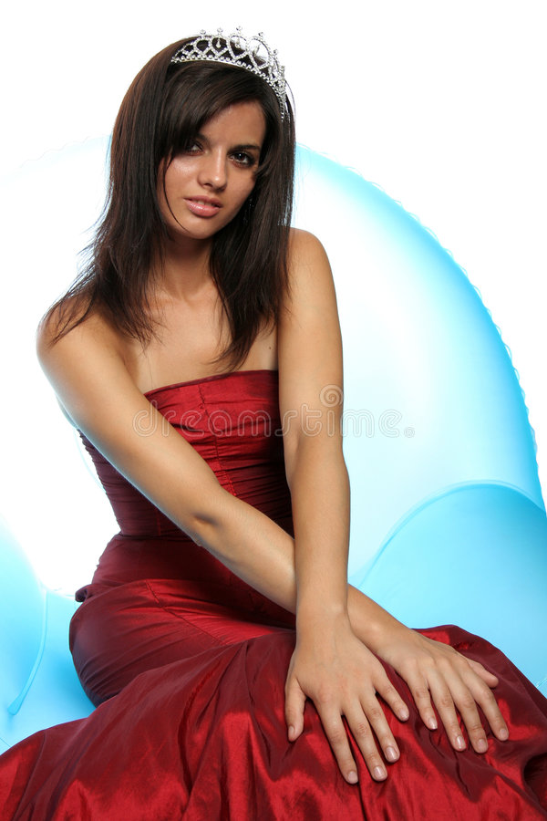 Download Girl In An Red Evening Dress And With A Diadem Stock Image - Image: 4130849