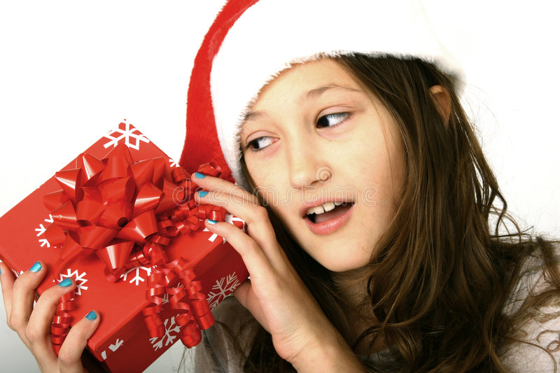 Girl and red gift stock photography