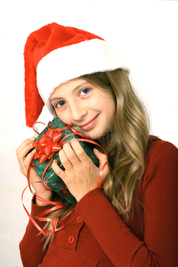 Girl with red gift stock images