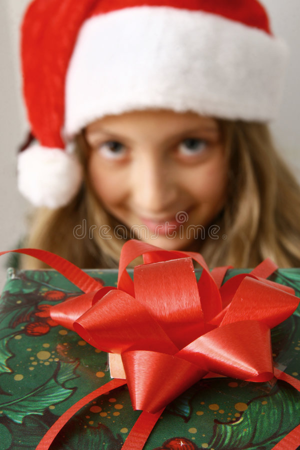 Girl with red gift stock photos