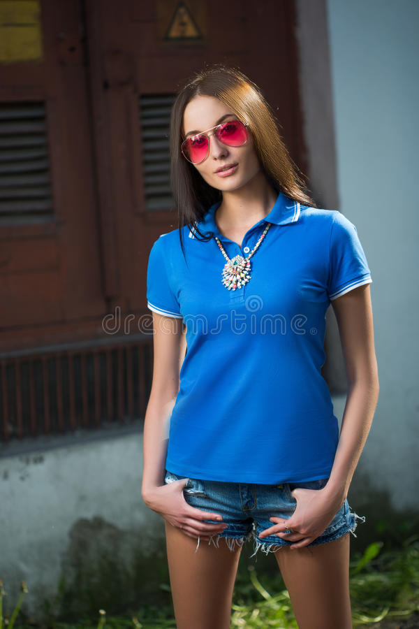 Download Girl In Red Glasses And Blue Shirt Stock Photo - Image: 43238906