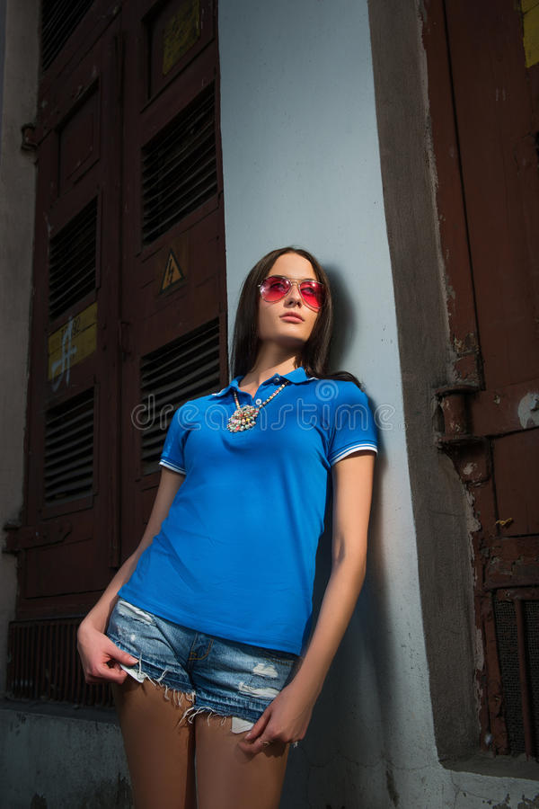 Download Girl In Red Glasses And Blue Shirt Stock Photo - Image: 43238986