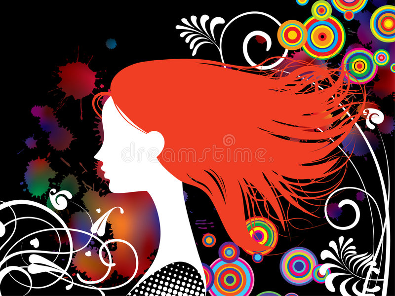 Download Girl with red hair stock vector. Image of vector, slender - 9269312