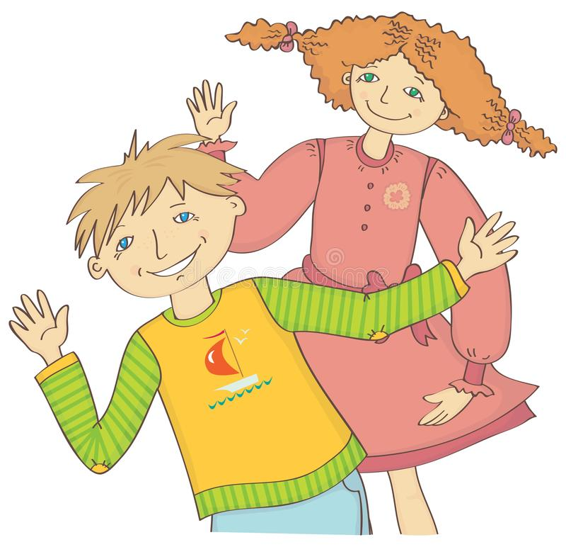 Boy and girl greet waving hand. Girl with red hair and green eyes in a pink dress and a green guy with blue eyes greet waving hand stock illustration