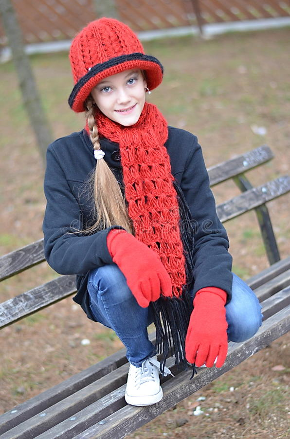 Girl with red hat royalty free stock images