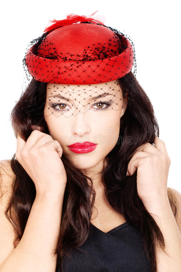 Download Girl with red hat stock photo. Image of black, slim, attractive - 23563728