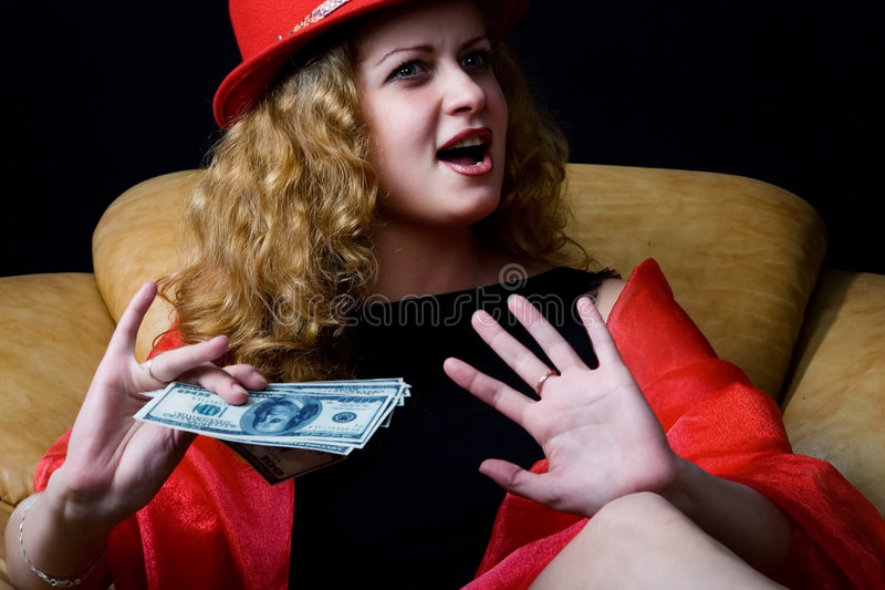 Download The girl in a red hat stock photo. Image of armchair, fortune - 7673354