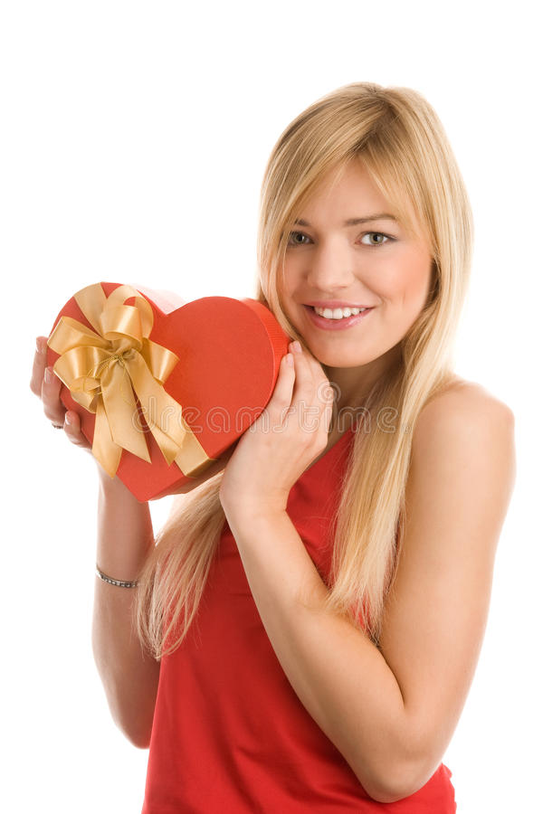 Download Girl with red heart stock photo. Image of girls, adult - 12839752